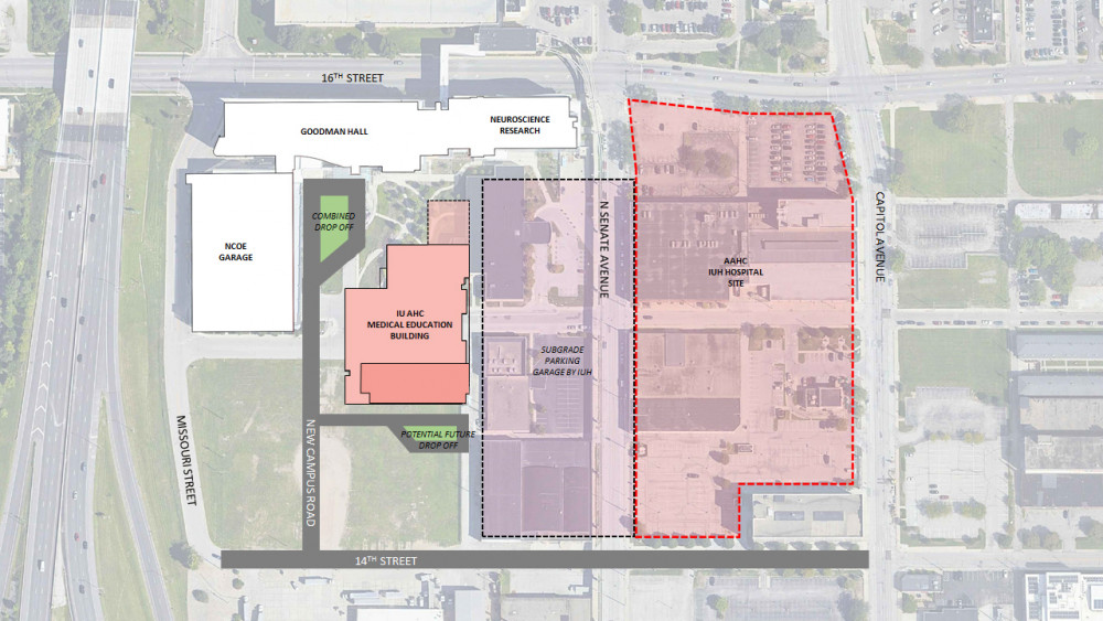 Indianapolis Academic Health Center site. Map courtesy of the Office of the Vice President for Ca...